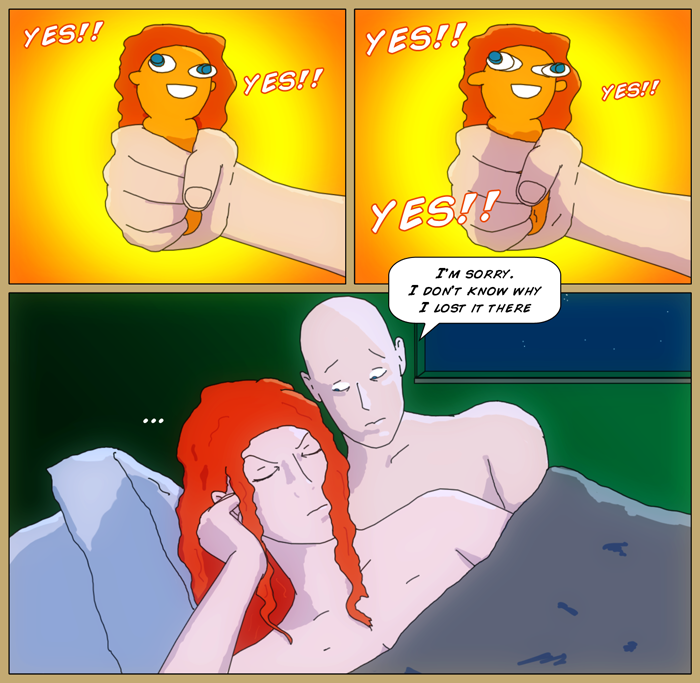 First panel, Luthor's hand holding a 'Bug Out Bob' stress toy fashioned to look like Mia, with 'yes! yes!' in the background. Second panel he's squeezing the toy as the eyes bulge out, as the yes are larger and more frequent. Last panel has Luthor and Mia in bed. she's turned away silently, with an annoyed expression on her face, while he looks embarrassed, saying 'I'm sorry. I don't know why I lost it there', apparently having lost the mood, as it were.